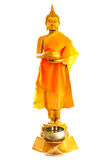 Golden buddha statue. Standing isolated white background Royalty Free Stock Photo