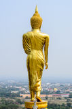 Golden Buddha statue standing on a mountain Royalty Free Stock Photos