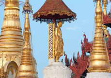 Golden Buddha Statue Swedagon Temple Stock Photos