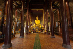 Golden buddha  statue in the temple. Royalty Free Stock Photography