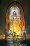 Golden Buddha statue on the temple of Ananda at Bagan Royalty Free Stock Images