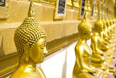 Golden Buddha statue. In temple of thailand Royalty Free Stock Image