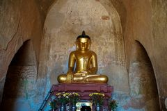 Golden Buddha Statue in Temple. Trip to Myanmar Burma Royalty Free Stock Images