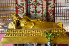 Golden Buddha Statue in temple at Wat Somdej Sangkhlaburi, Kanch Royalty Free Stock Photography