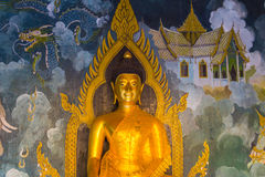 The golden Buddha statue Thai , Thai arts. Stock Photo
