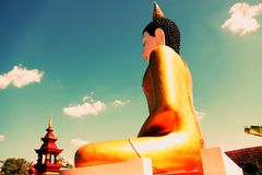Golden Buddha statue in Thailand. royalty free stock photos