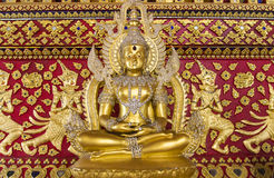 Golden buddha statue. In Thailand temple church Stock Image