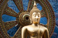 Thailand Golden Buddha statue on a asia style background Royalty Free Stock Photo