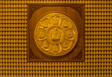 Golden buddha statue on the wall Royalty Free Stock Photo