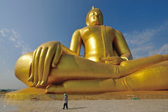 Golden Buddha statue at Wat Muang in Angthong Royalty Free Stock Photography