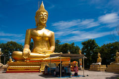 Golden Buddha Statue, Wat Phra Yai, Pattaya Stock Photography