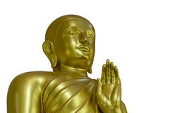 Golden Buddha Statue on White Background with Clipping Path Royalty Free Stock Photos