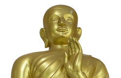 Golden Buddha Statue on White Background with Clipping Path Stock Photography