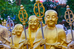 Golden Buddha statues. Along the stairs leading to the Ten Thousand Buddhas Monastery and landscape with green trees in the background in Thailand Stock Photography