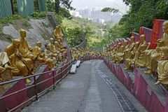 Golden Buddha Statues At Ten Thousand Buddhas Monastery, Hong Kong Stock Image