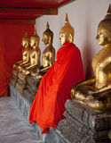 Golden Buddha statues. Royalty Free Stock Photos