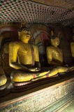 Golden Buddha statues close up Royalty Free Stock Photography