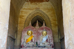 Golden Buddha statues at Guni temple in Bagan, Myanmar Royalty Free Stock Photo