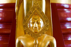 Golden Buddha statues. Inside temple of Wat Sothon Wararam Worawihan royalty free stock images