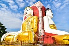 Golden Buddha Statues at Kyaik Pun Paya Royalty Free Stock Photos