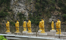 Golden Buddha statues at the pagoda in Hualien, Taiwan Royalty Free Stock Image