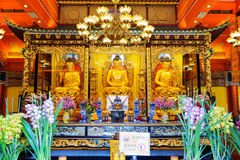 Golden Buddha statues in the temple, Po Lin Monastery in Hong Ko Royalty Free Stock Photography
