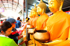 Golden Buddha statues at the temple in Thailand Stock Photography