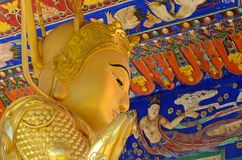 Golden Buddha statues at Ten Thousand Buddhas Monastery, Hong Kong stock images