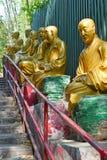 Golden Buddha statues at Ten Thousand Buddhas Monastery, Hong Kong stock image
