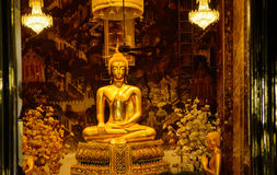 Golden Buddha statues in a Thai Buddhist temple. Golden Buddha statues in a Thai Buddhist temple, Wat Phra Borommathat Maha Chedi, Bangkok, Thailand Royalty Free Stock Photos