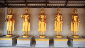 Golden Buddha Statues in Thai temple Stock Photos