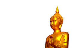 Golden Buddha statues. With a wall covered by moss outside of a temple in  Thailand Stock Photo