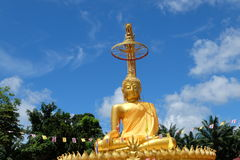 Golden buddha. Stature in temple. Thailand Royalty Free Stock Photography