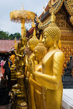 Golden Buddha. In a temple Royalty Free Stock Photography