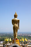Golden Buddha in a temple of Nan Province Stock Image