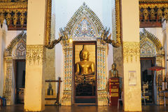 The golden Buddha in the temple. On night , thai temple Stock Image
