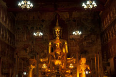 Golden Buddha in Thai church . Stock Photography