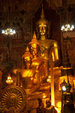 Golden Buddha in Thai church . Stock Photos