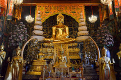 Golden Buddha in thai church Stock Photo