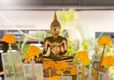 Golden buddha on Thai new year day Stock Photography