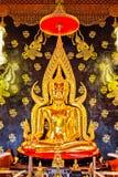 Golden buddha in thai temple stock image