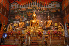 Golden Buddha in thai temple Royalty Free Stock Photo
