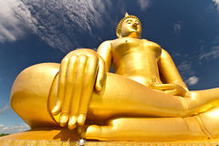 Golden Buddha wat muang Thailand Royalty Free Stock Photography