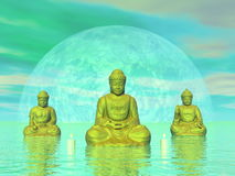 Golden buddhas - 3D render. Three golden buddhas next to candles in green background with big moon - 3D render royalty free illustration