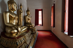 Golden Buddhas Inside of Wat Pho Temple Stock Photography