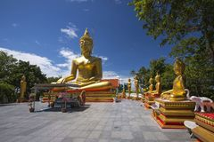 Golden Buddhas at Pattaya, Thailand Royalty Free Stock Images