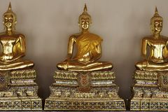 Golden Buddhas at Temple in Thailand. Royalty Free Stock Photography