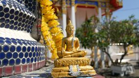 Golden Buddhist Buddha statue on the background of a beautiful gilded temple with a variety of ornaments and religious. Golden Buddhist Buddha statue on a stock video