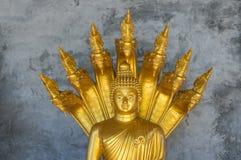 Golden Buddhist Monk Statue Stock Photo