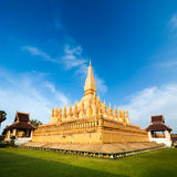 Golden buddhist pagoda of Phra That Luang Temple. Laos Royalty Free Stock Image